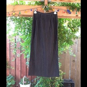 90's Vintage Long Pinstripe Skirt