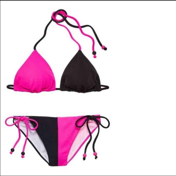 d2d344647a73b VS BIKINI SET Strappy Tied pink / black NWT