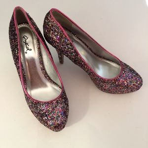 Qupid Shoes - Qupid Rainbow Glitter Heels