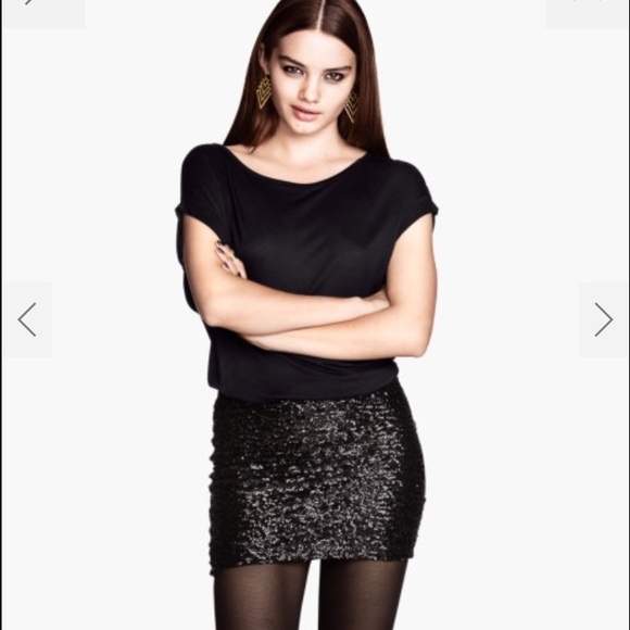 67% off H&M Dresses & Skirts - H&M Black Sequin Mini Skirt - M ...