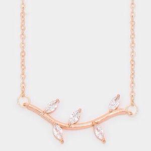 Farah Jewelry Jewelry - Austrian leaf twig pendant necklace
