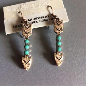 1 LEFT- Tribal arrow drop earrings