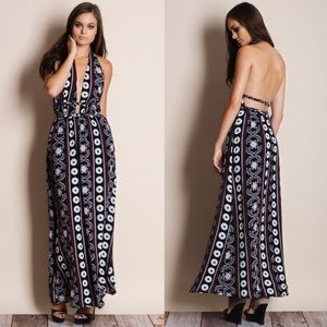 Backless Printed Halter Maxi Dress
