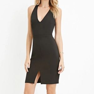 Black Criss Cross Cutout Back Party Dress