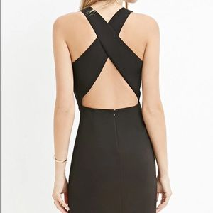 Dresses - Black Criss Cross Cutout Back Party Dress
