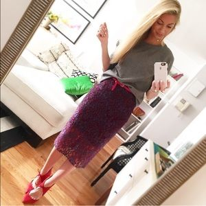 Purple and Red lace overlay pencil skirt
