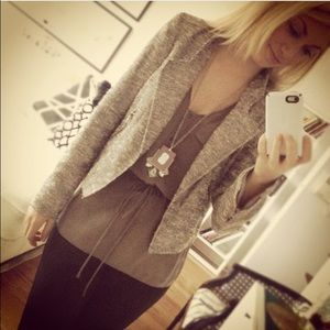 Zara Jackets & Blazers - Silver Boucle cropped jacket