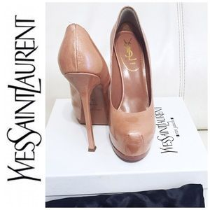 Yves Saint Laurent Shoes - YSL nude patent leather heels