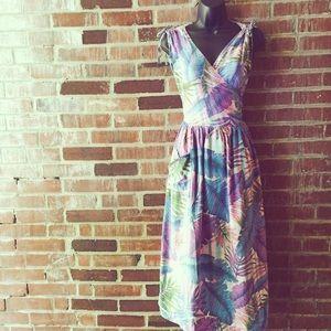 Vintage 70|80's Tropical Leaf Print Wrap Dress