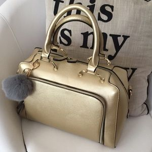 Handbags - Gold metallic handbag purse tote bag