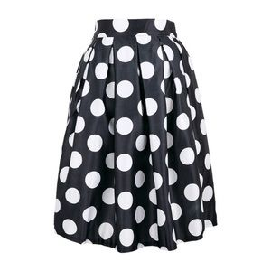 Black and white polka dots dot flare circle skirt