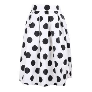 Black and white polka dot flare circle skirt