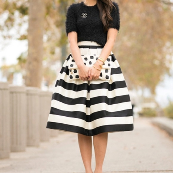 Black and white stripe stripes full circle skirt from The dressy ...