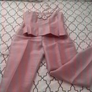 Kay Unger Pants - Kay Unger Pink strapless top & pants set