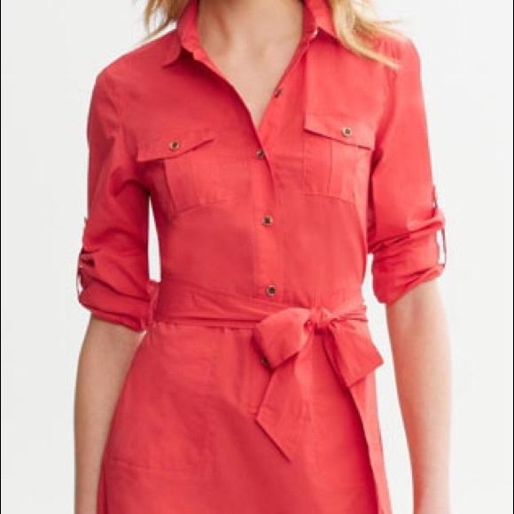f5ecfbc43f7 Brand-new red linen shirt dress