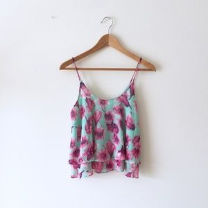 Floral 2-tiered crop top Sz S
