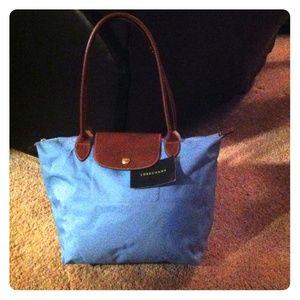 Longchamp baby blue small Le pliage bag