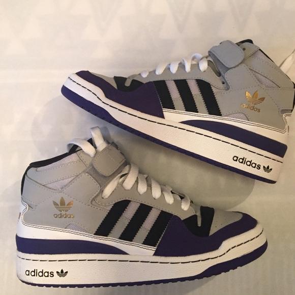 size 40 18293 34710 Adidas Shoes - Adidas Forum Mid light gray- purple- black