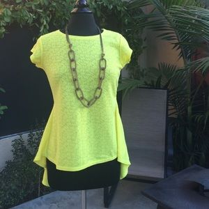 Finejo Tops - Yellow peplum top