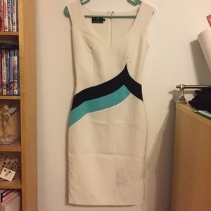 White, blue, and green classy dress from Europe