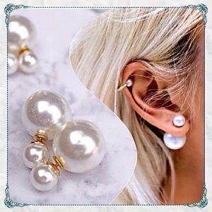 ✨Glass Double Sided Pearl Earrings
