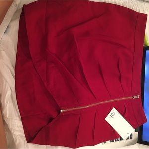 Tobi Red Exposed Mini Skirt