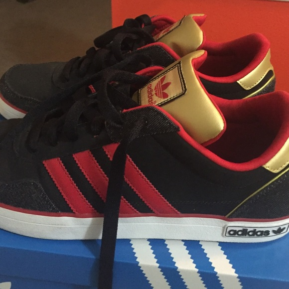 Adidas Shoes Red Black Gold Denim White Low Cut Poshmark