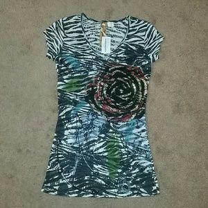 mandee Tops - Zebra Rose Sequin Top