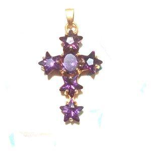 Jewelry - Purple amethysts gold filled cross pendant