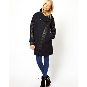 ASOS Jackets & Blazers - ASOS Biker/Moto Style Long Length Coat