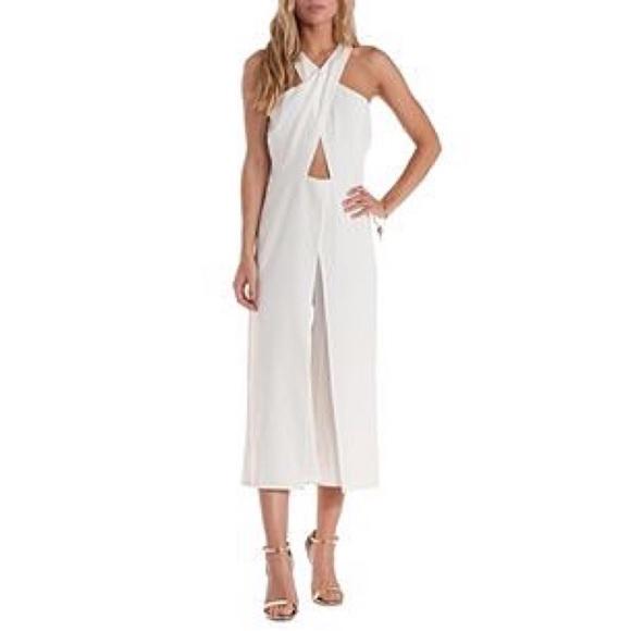 ea58b728f54 White Crossover Wrap Culotte Jumpsuit