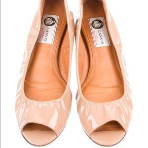 Lanvin patent peep toe flats