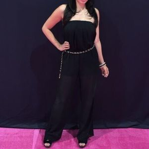 Pants - Strapless Jumpsuit with Chain Belt