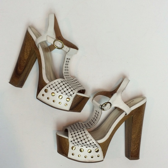 bf7f4ca944dc Bakers Shoes - Bakers White leather wood platform heel sandals