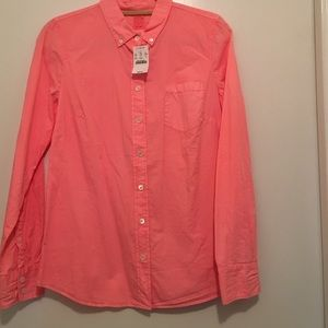 Jcrew garment dyed hot pink perfect shirt