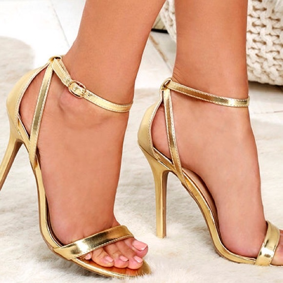 Lulu's - Remi Gold Ankle Strap Heels from Arnile's closet on Poshmark
