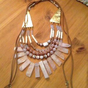 Nakamol Jewelry - Rose Quartz pull tie statement necklace