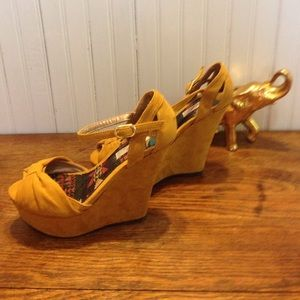 b2cc2a017e8 Qupid Shoes - Qupid size 6.5 faux suede ankle strap wedge heels