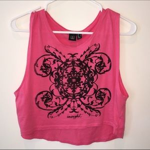 Urban Outfitters Insight Crop Muscle Tank Tee Pink