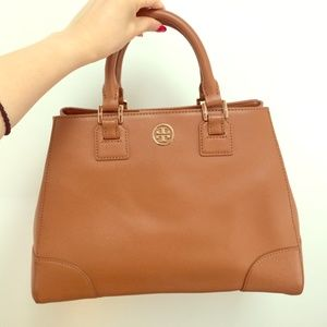 Tory Burch Handbags - brown tory burch triangle Robinson satchel bag