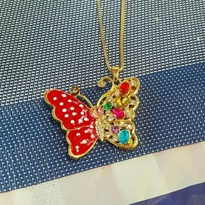New butterfly crystal necklace