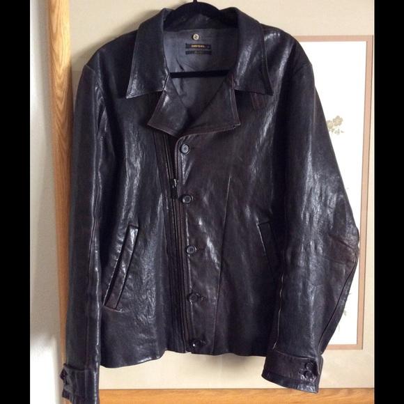 0e07f717e821f Diesel Jackets & Coats | D I E S E L Black Leather Jacket Gold Label ...