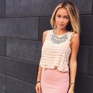 Peach color layered tank top