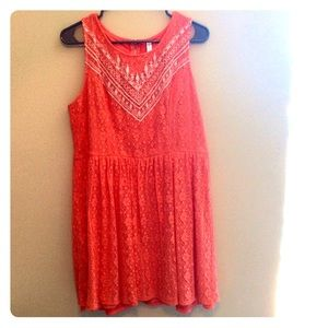 Coral Lace Aztec Dress