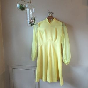 Vintage 1960s Yellow Dress A Line