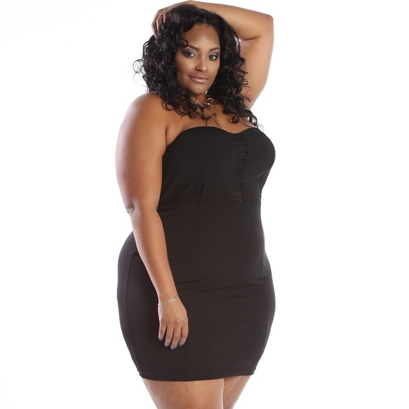 Plus Size Sweetheart Mesh Tube Mini Dress Boutique