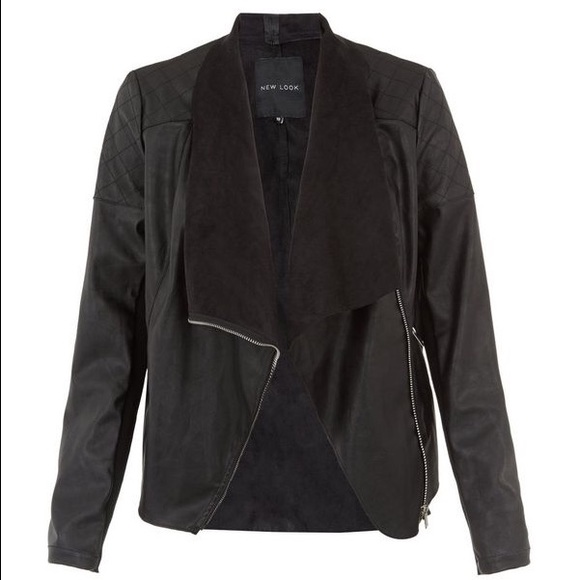 New Look Jackets Coats Black Suedette Panel Waterfall Jacket
