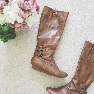 Bamboo Cognac Knee High Zip Wedge Boots
