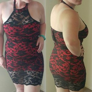 Black Lace dress with Red Slip attached Size 10