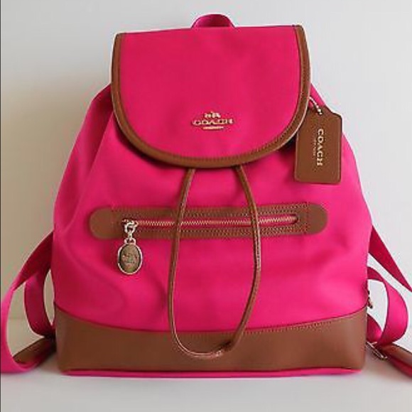 coach leather backpack outlet 7lyl  pink coach backpack